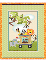 "Jungle Animals in Cart Panel 36"" x 44"""