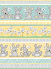 Bunnies & Dandelion Puff Flannel Stripe 1 Yard Cut