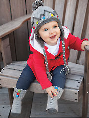 Baby Button Boot Socks & Ear Flap Cap
