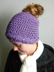 Cable Brim Messy Bun Hat