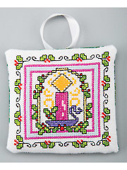 Christmas Candle Ornament Cross Stitch Pattern