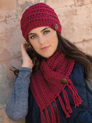 Chunky Chain Button Scarf & Hat Crochet Pattern