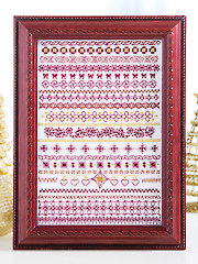 Garnet & Gold Greetings Cross Stitch Pattern