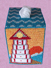 Sunset at Sea Lighthouse Tissue Topper