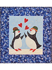 Penguins Catching Hearts Quilt Pattern