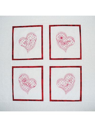 Geri's Redwork Hearts Quilt Pattern