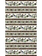 Winter Chickadees Stripe 1 Yard Cut