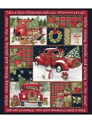 """Christmas Red Truck Collage Panel 36"""" x 44"""""""