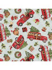 Christmas Red Truck Toss 1 yd Cut