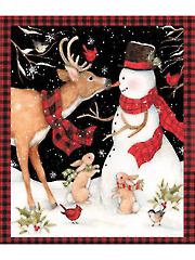 "Christmas Winter Snowman with Reindeer Panel 36"" x 44"""