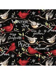 Christmas Winter Birds 1 yd Cut