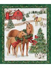 "Christmas Two Horses Panel 36"" x 44"""