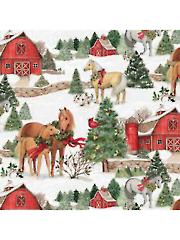 Christmas Two Horses Scene 1 yd Cut