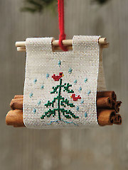 Christmas Log Carrier Ornament Cross Stitch Pattern