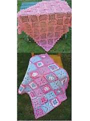 Rose Trellis and Patchwork Squares Baby Blankets