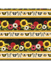 Sunset Blooms Stripe 1 Yard Cut