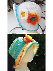 Sun Hat With Flowers or Bow Crochet Pattern