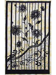 Gold Shattered Garden Batik Panel
