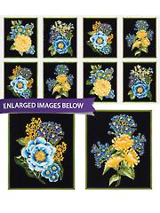 """Blue Floral Panel 24"""" x 44"""""""