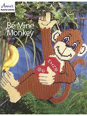 Be Mine Monkey Plastic Canvas Pattern