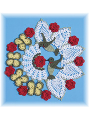 Hummingbird & Roses Pineapple Doily