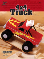 4 x 4 Truck Tissue Holder in Plastic Canvas