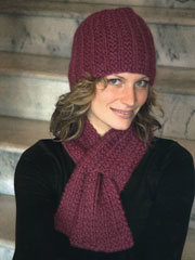 Keyhole Scarf and Hat Set Knit Pattern