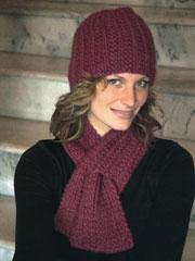 Keyhole Scarf and Hat Set Knit Pattern