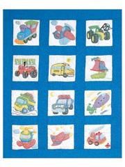 Transportation Prestamped Nursery Quilt Blocks