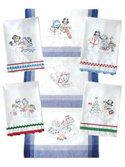 Snow Fun Iron-On Embroidery Towels Sewing Pattern