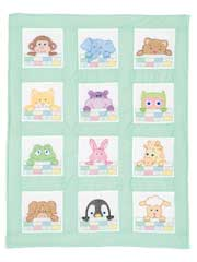"Peek-A-Boo 9"" Prestamped Nursery Quilt Blocks"