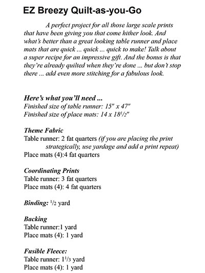 EZ Breezy Quilt As You Go Table Runner & Place Mat Pattern : easy breezy quilt pattern - Adamdwight.com