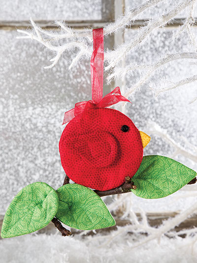 Sewing pattern for a Christmas Cardinal bird ornament