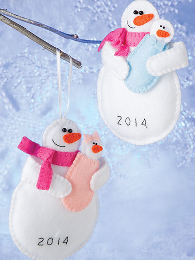 Easy to sew Snowman and Snowwoman baby ornament set pattern