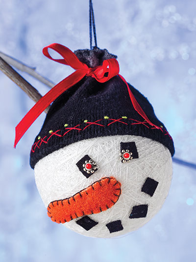 Easy sewing pattern for a Snowman Christmas ornament