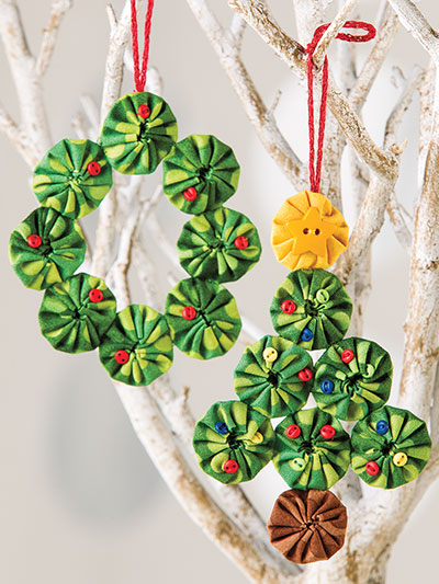 Yo Yo Sewing Christmas tree ornament and wreath pattern