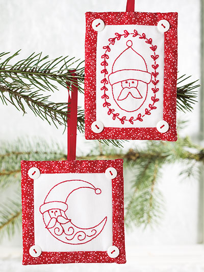 Red Embroidery Santa ornament sewing pattern