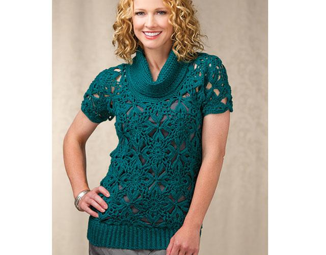 Learn To Crochet Sweaters Raglan Top Down Motif