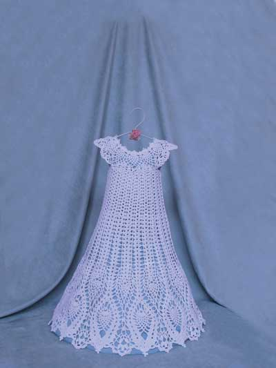Crochet Patterns Pineapple Lace Christening Gown Crochet Pattern