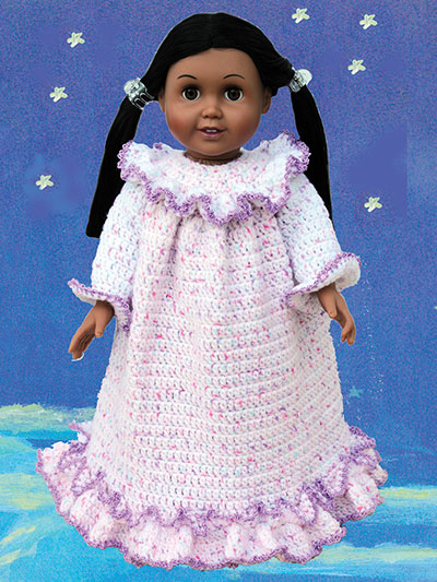 "Slumber Party Sleepwear Crochet Patterns for 18"" Dolls - Granny Nightgown"