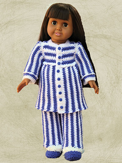 "Slumber Party Sleepwear Crochet Patterns for 18"" Dolls - Button down pj's"