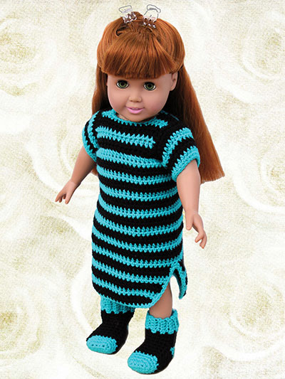 "Slumber Party Sleepwear Crochet Patterns for 18"" Dolls - nightshirt"