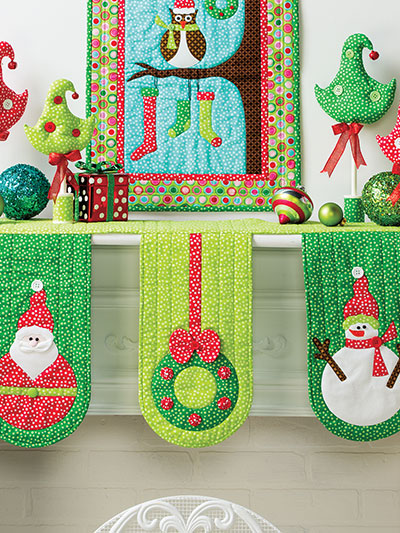 Christmas All Through the House quilting for the fireplace mantle