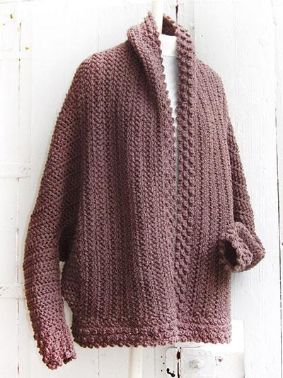Crochet Shawl Wrap Patterns Brown Cuffed Shawl Cardigan Crochet