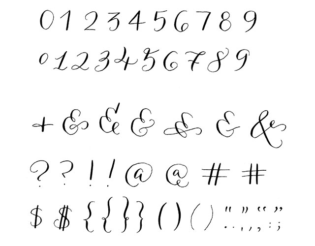 Numbers Symbols Guide Customer Reviews For Modern Calligraphy