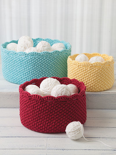 Crochet basket patterns for yarn storage, craft storage, kids toys and more