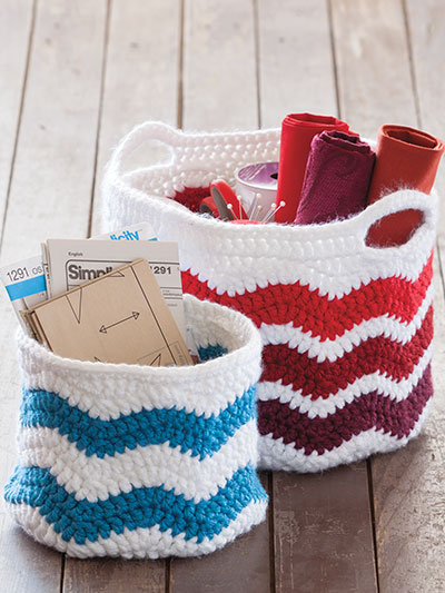 Crochet striped chevron basket patterns with or without handles