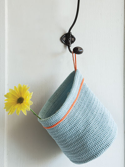 Crochet a basket to hang up for storing or decorating with crochet patterns