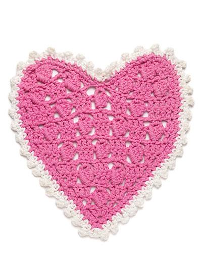 A Year of Dishcloths a heart dishcloth crochet pattern