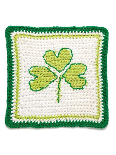 A Year of Dishcloths a shamrock dishcloth crochet pattern